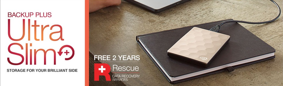 71493384bfd The Backup Plus Ultra Slim Portable Drive is one of Seagate s thinnest and  most eye-catching portable hard drives. Available in stunning gold and  platinum ...